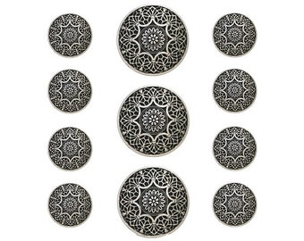 11 pc Safi Metal Blazer Button Set Antique Silver Color