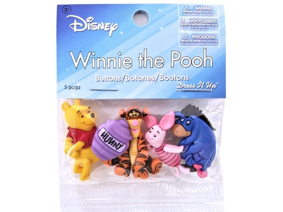 Jesse James Buttons  Dress It Up  POOH Buttons Winnie The Pooh Set of 2