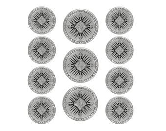 11 pc Mayan Metal Blazer Button Set Antique Silver Color