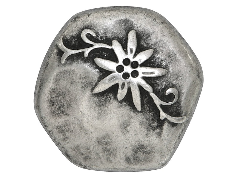 Metal Buttons Antique Silver Color Metal Buttons from Italy 3 pcs Hammered Edelweiss 1 inch 26 mm