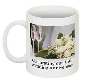 Celebrating Our xxx Wedding Anniversary Coffee Mugs - Set of 2