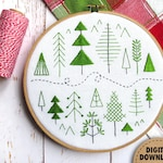Forest, Beginner Embroidery Pattern, Scandinavian Modern, Folk Art Pattern, Stitch Sampler, Pine Trees, Woodland, Modern Embroidery Pattern