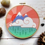 Mountain Embroidery Kit, Beginner Embroidery Kit, DIY Craft, Stitch Kit, Hand Embroidery, Woodland Nursery, Wilderness, Modern Embroidery