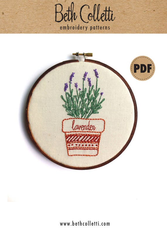 Lavender Pdf Embroidery Pattern Herb Art Embroidery Design Etsy