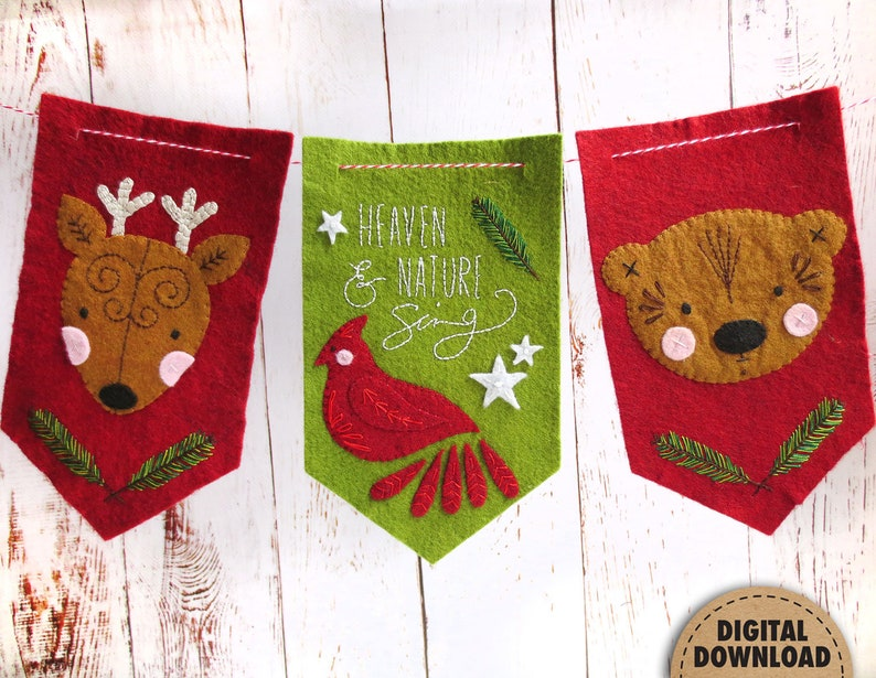 Heaven and Nature Sing Christmas Banner Felt Embroidery image 0
