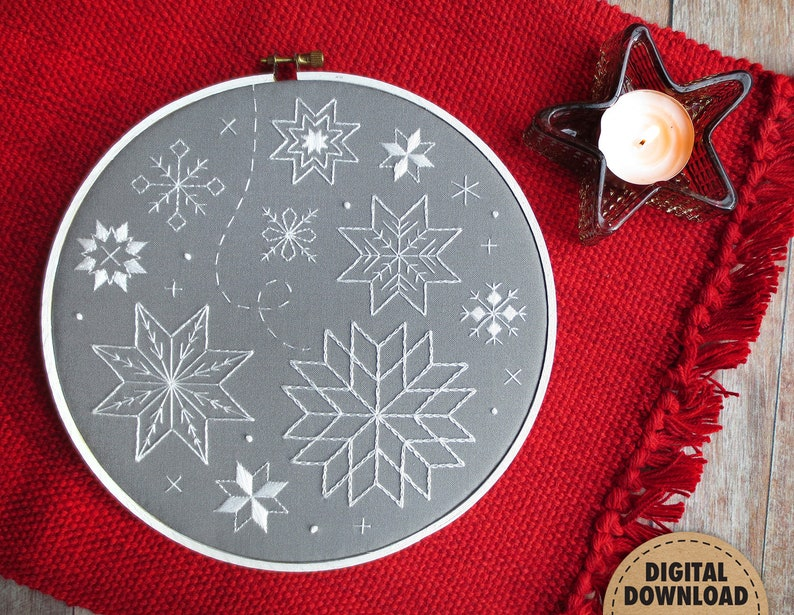Snowflake Embroidery Pattern Downloadable Pattern image 0