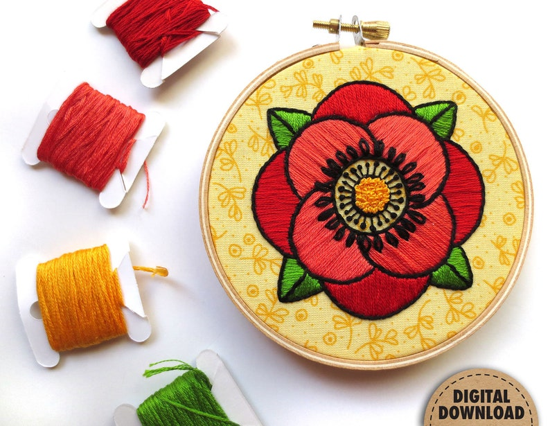 Red Poppy Embroidery Pattern Summer Embroidery Modern image 0