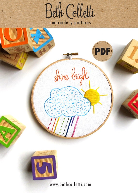 Beginner Embroidery Sampler Diy Crafts Sun Cloud Downloadable Etsy