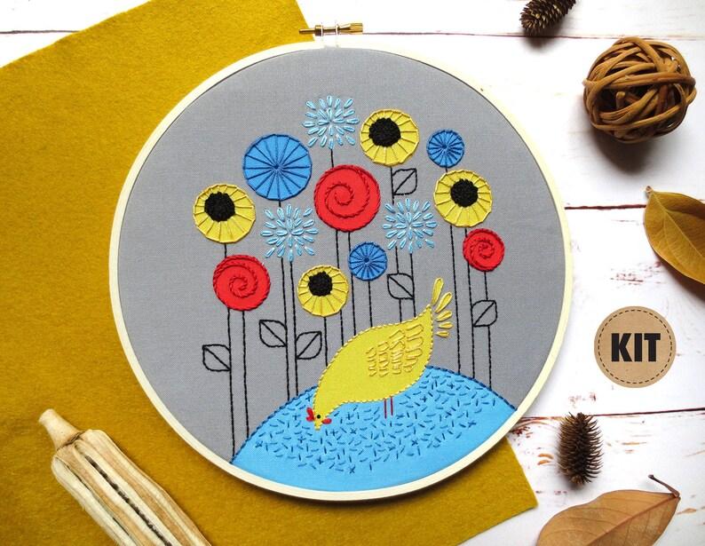 Chicken Embroidery Kit Hen Farm Animal Decor Chicken Decor image 0