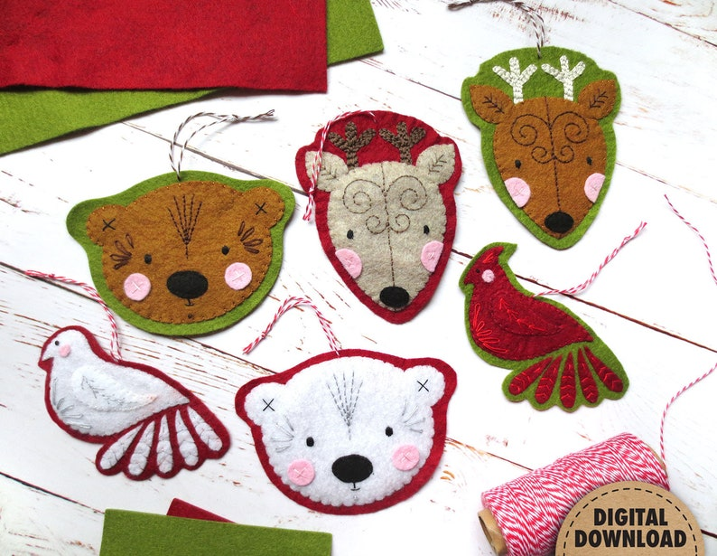 Woodland Ornament Set Hand Applique Patterns Felt Christmas image 0