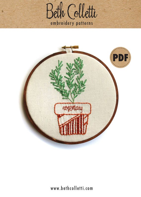 Rosemary Plant Embroidery Pattern Botanical Embroidery Hoop Etsy