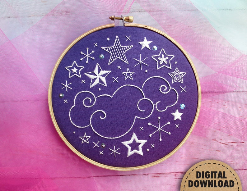 Constellation Embroidery Pattern Astronomy Art Night Sky image 0