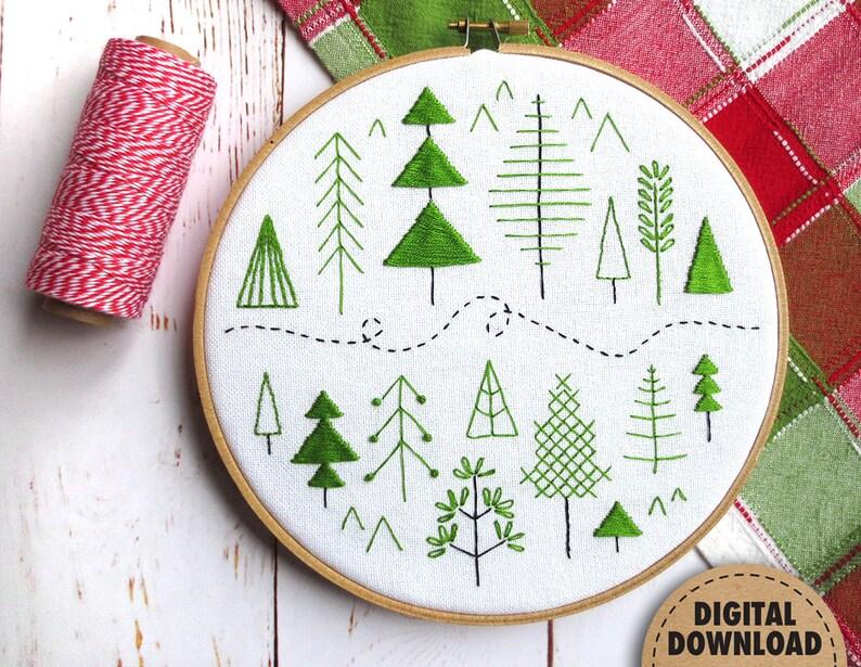 Forest Beginner Embroidery Pattern Scandinavian Modern Folk image 0