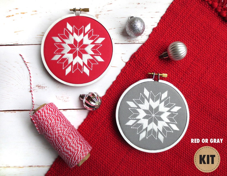 Snowflake Embroidery Design Beginner Kit Holiday Embroidery image 0