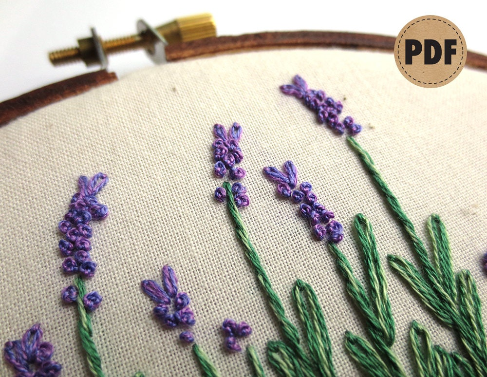Lavender Pdf Embroidery Pattern Herb Art Embroidery Design Herb