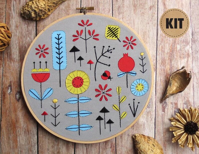 Beginner Embroidery Kit Stitch Sampler Fall Decor image 0