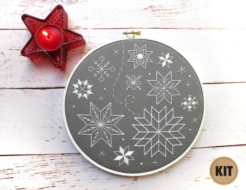 Snowflake Embroidery Kit Stitch Sampler Winter Embroidery image 0