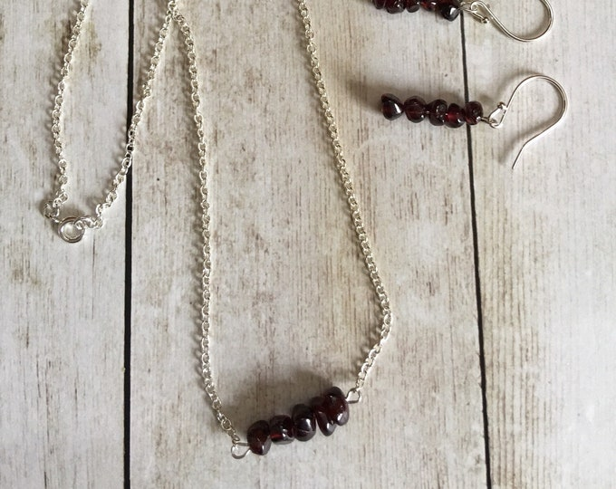 "Garnet Natural Healing Gemstone Necklace and Earrings, 18"" Silver Chain"