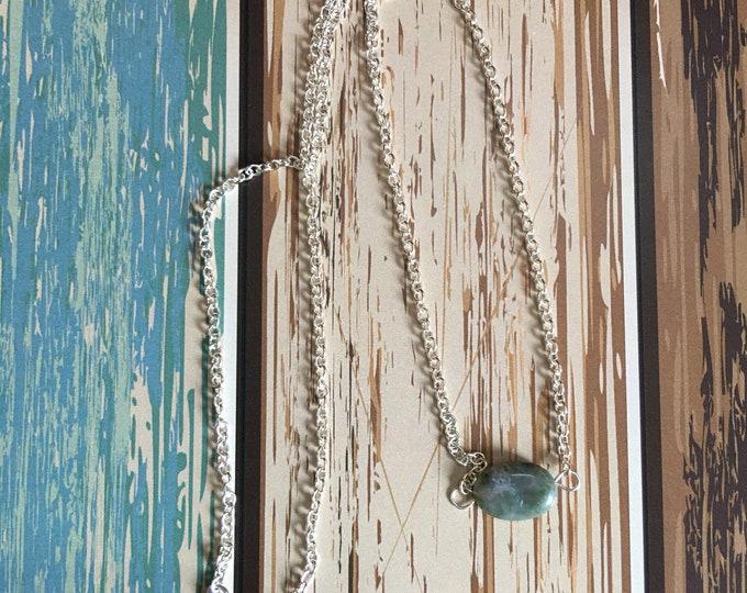 "Jasper Natural Healing Gemstone Necklace, 18"" Silver Chain"
