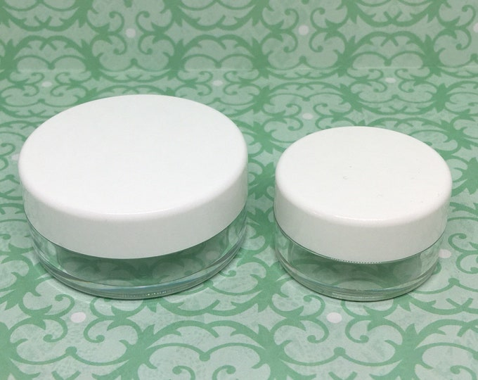 Clear Jar With Flat White Cap With Sifter, 2 Sizes