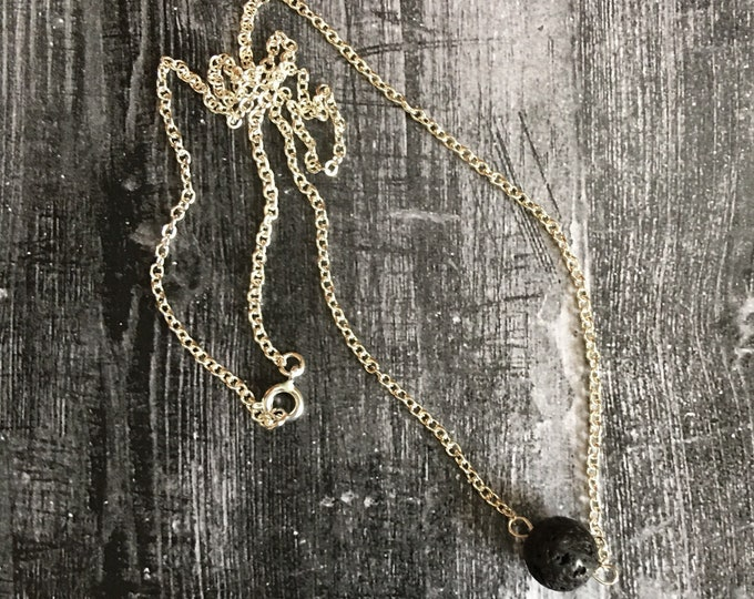 """Lava Natural Healing Gemstone Necklace, 18"""" Silver Chain"""