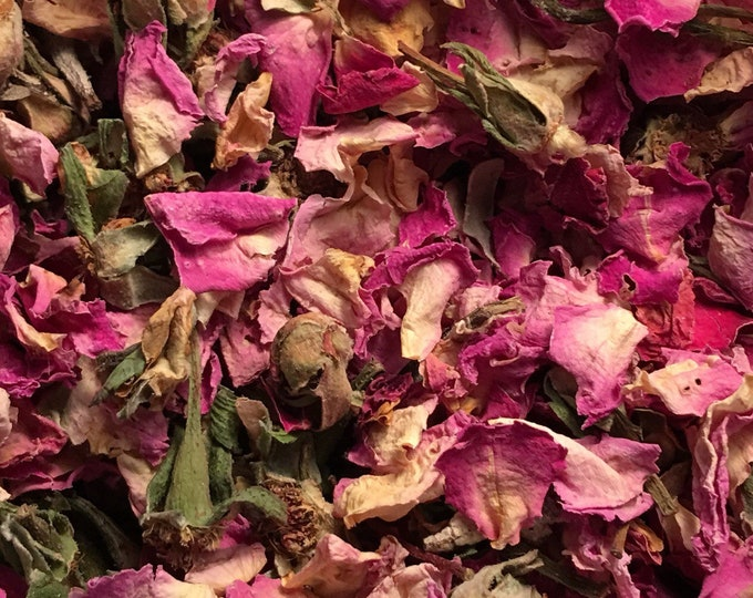Rose, Pink Petals, Buds, Stems, and Leaves, Rosa centifolia,  1 oz.