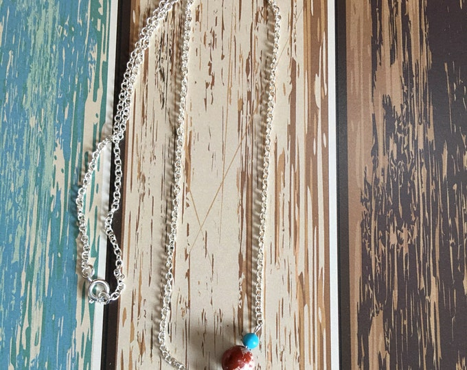 """Red Jasper and Turquoise Natural Healing Gemstone Necklace, 18"""" Silver Chain"""