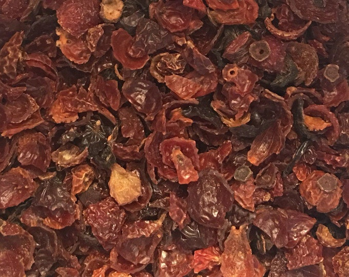 Rose Hips, Seedless and Cut, Rosa canina,  1 oz.