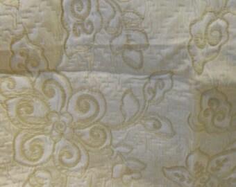 Mattelase Fabric, Soft Gold and white, Upholstery weight, Yardage