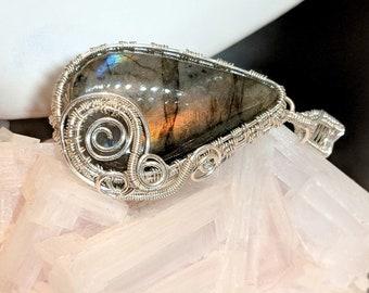 Rainbow Labradorite Handmade Wire Wrapped Sterling Silver Pendant