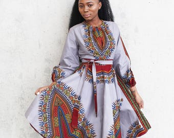 THE ZHARA Dashiki Dress in Silver Grey