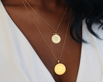 THE DOUBLE Up Coin Necklace Stack II in Gold Vermeil