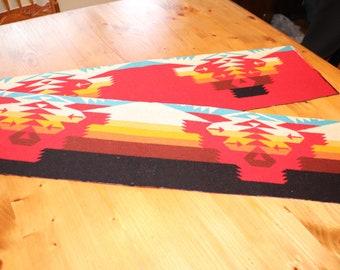 "Pendleton Wool Indian Blanket REMNANT NEW Fabric 7 7/8"" x 66"" Red Orange Turquoise 473"