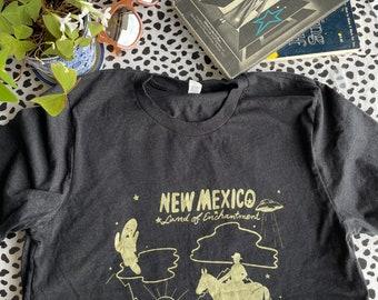 New Mexico Tee Shirt/ NM Tee Shirt/ Land of Enchantment Tee/ UFO/ Ghosts/ Rattlesnake/ New Mexico/ Southwest/ Souvenir Shirt/ Paranormal Art