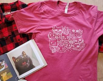 I Love Cats Shirt/ Cat Shirt/ Cat Screen Print Tee Shirt/ Abstract Cat Shirt/ Cat Lady Shirt/ Handmade Cats Gift/ Purrfect T-Shirt/ Cat Art