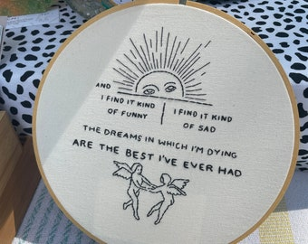 Mad world/tears for fears/hand embroidery/dreams of dying/cross stitch art/Victorian