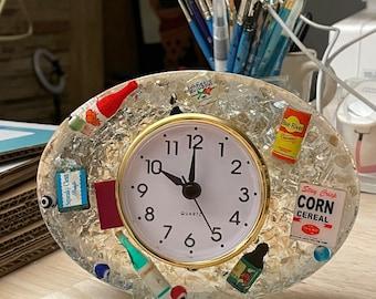 Vintage style Clock/Vomit Clock/Resin Clock/Miniatures/food art/dollhouse toys/