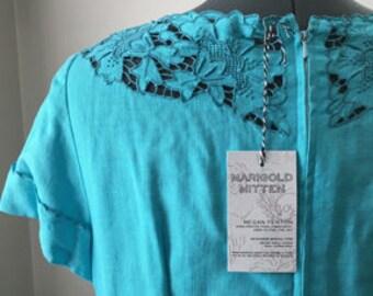 Robins Egg dress, Baby blue dress, Formal dress, embroidery cutout, 1960s dress, medium/large