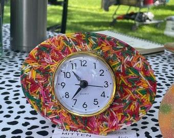 Vintage style Clock/Vomit Clock/Resin Clock/Candy Sprinkles/Rainbow Sprinkles