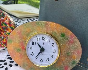 Vintage style Clock/Vomit Clock/Resin Clock/Glow in the Dark