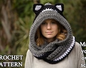 CROCHET PATTERN Cat Scoodie, Cat Hooded Scarf Pattern, Animal Scarf Pattern, Hood with Cat Ears
