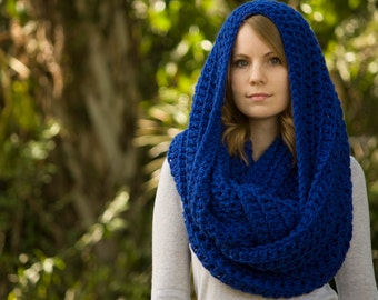 Royal Blue Infinity Scarf, Oversized Hooded Scarf, Chunky Cowl, Cobalt
