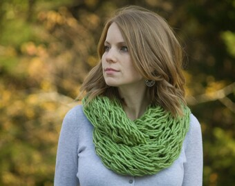 Lime Green Knit Scarf, Avocado Womens Infinity Scarf