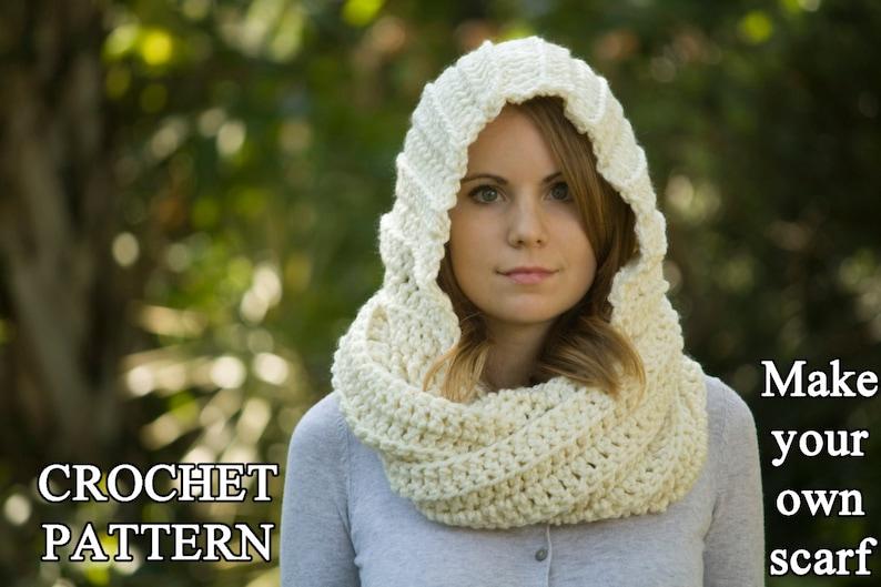 1afcbcd37779 CROCHET PATTERN Hooded Scarf Pattern Crochet Scoodie Instant