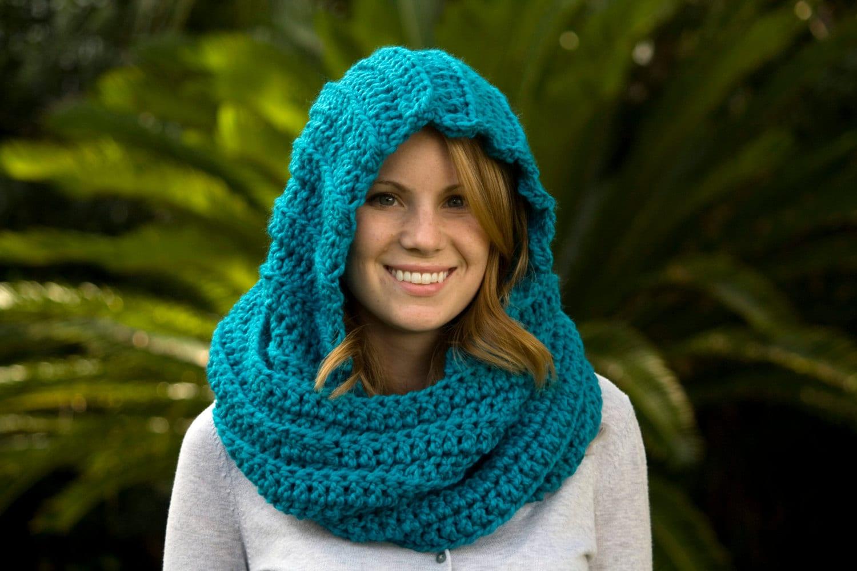 Teal Scoodie Blue Hooded Scarf Crochet Scarf Pixie Hood