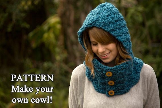 Crochet Pattern Hooded Cowl Button Neck Warmer Crochet Etsy