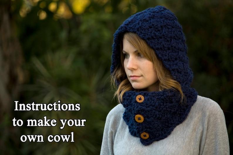 CROCHET PATTERN Hooded Cowl Button Neck Warmer Crochet | Etsy