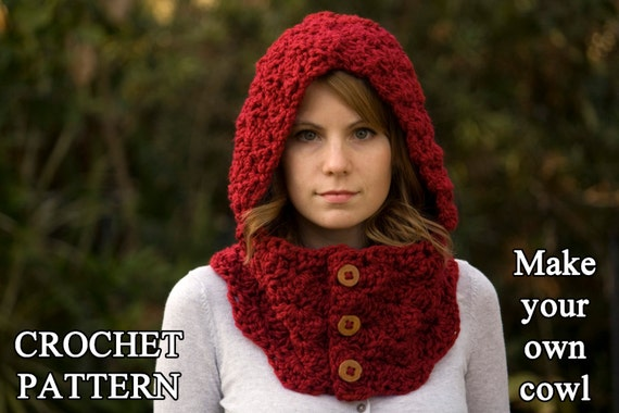 CROCHET PATTERN Hooded Cowl Button Neck Warmer Crochet Etsy Extraordinary Hooded Cowl Pattern
