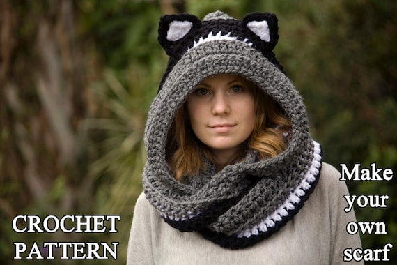 Crochet Pattern Cat Scoodie Cat Hooded Scarf Pattern Animal Etsy