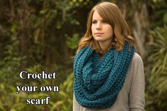 Crochet Pattern Oversized Infinity Scarf Pattern Hooded Cowl Etsy